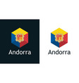 flag andorra in set flat icons vector image vector image