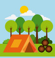 forest outdoor camp tent wooden tree sun cloud vector image