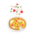funny pizza with delicious ingredients colorful vector image