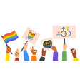 hands holding lgbt posters people crowd vector image