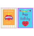 happy birthday princess poster heart and crown vector image