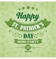 Happy Saint Patrick Day Poster Typographic With vector image