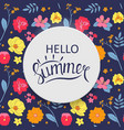 hello summer background with hand drawn flower vector image