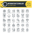 information technology outline icons vector image vector image