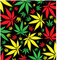 jamaican marijuana pattern on black background vector image vector image