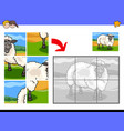 jigsaw puzzles with sheep animal character vector image vector image