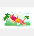 joyful tourist man is lying on beach sea vector image