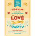 Love dating party flyer vector image vector image