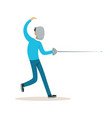 male fencing athlete character practicing with vector image