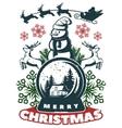 merry christmas vintage print vector image