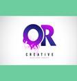 o r purple letter logo design with liquid vector image vector image