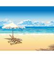 on beach under an umbrella tropical vacation vector image vector image