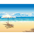on the beach under an umbrella tropical vacation vector image