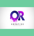 or o r purple letter logo design with liquid vector image vector image