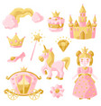 princess party items set vector image vector image