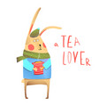 rabbit and tea drinking vector image vector image