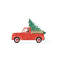 red christmas truck with green fir tree at the vector image vector image