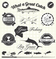 Retro Gone Fishing Labels and Icons vector image vector image