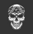 rock and roll skull with bandana vector image vector image