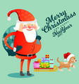 santa claus with hefty bag of gifts on his back vector image