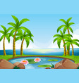 scene with pond close to the ocean vector image vector image