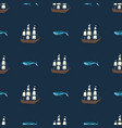 seamless ship and whale pattern ocean or vector image