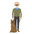 senior blind man standing with guide dog vector image vector image