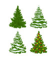 set christmas trees with snow vector image vector image