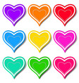 Set of colored hearts vector image