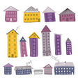 set of colorful buildings decorated with ornaments vector image