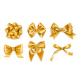set of realistic golden ribbons bows decoration vector image vector image