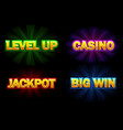 shining text casino jackpot big win and vector image