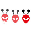 shredded dotted halftone antenna alien head icon vector image vector image