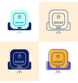 smart robot mop icon set in flat and line styles vector image