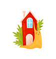 smiling snail with red cozy house on its back vector image