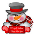 snowmans head in tophat sketch for greeting vector image vector image