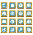 sport balls icons set sapphirine square vector image