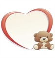 teddy bear with frame vector image vector image