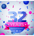 Thirty two years anniversary celebration on grey vector image vector image
