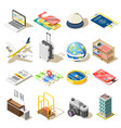 travel isometric icons vector image vector image