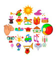 traveling circus icons set cartoon style vector image vector image