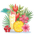 tropical cocktail with pineapple fruit and vector image