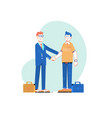 two businessmen shake handsbusiness partnership vector image vector image