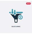 two color sales funnel icon from technology vector image