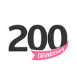 two hundred anniversary logo number 200 vector image vector image