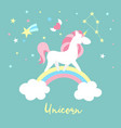 unicorn character set cute magic collection vector image vector image