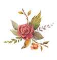 watercolor autumn arrangement with rose and vector image