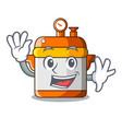 waving cartoon rice electric cooker in kitchen vector image vector image