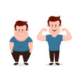 young sad fat and sport fitness vector image
