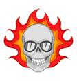 flaming skull icon cartoon style vector image